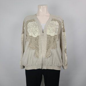 Vintage Lim's Cotton Linen Lace Taupe Jacket Sz XL